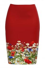 Fusta rosie imprimata cu model floral CMD695