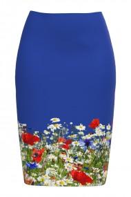 Fusta conica albastra imprimata Flori de camp CMD711