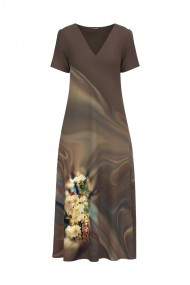 Rochie de vara maro lunga cu buzunare imprimata digital Floral CMD719