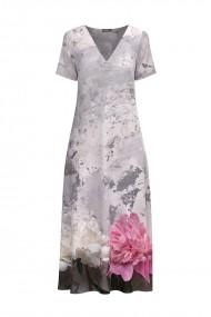 Rochie de vara in nuante roz gri lunga cu buzunare imprimata digital Floral CMD721
