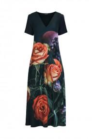 Rochie de vara neagra lunga cu buzunare imprimata Trandafiri CMD722