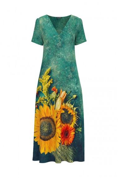 Rochie de vara verde lunga cu buzunare imprimata Floarea Soarelui CMD724