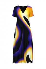Rochie de vara lunga cu buzunare imprimata digital Multicolor CMD725