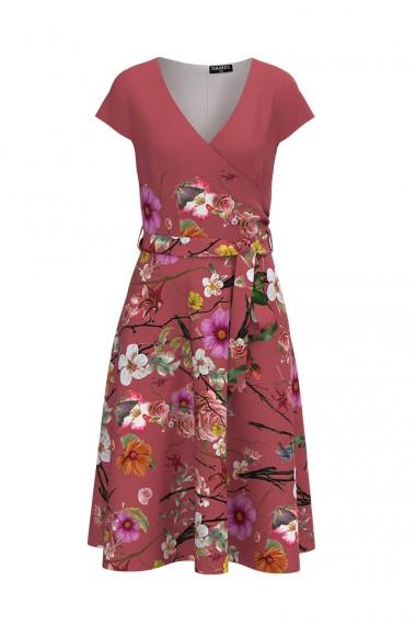 Rochie casual de vara cu maneca scurta si imprimeu Floral CMD735