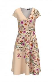 Rochie casual de vara cu maneca scurta si imprimeu Floral CMD736