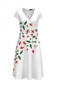 Rochie alba casual de vara cu maneca scurta si imprimeu Floral CMD738