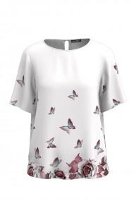 Bluza cu maneca scurta de vara cu imprimeu flori si fluturi CMD748