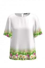 Bluza alba de vara cu maneca scurta si imprimeu floral CMD754