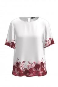 Bluza alba de vara cu maneca scurta si imprimeu trandafiri CMD756