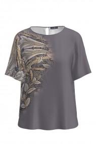 Bluza gri de vara cu maneca scurta si imprimeu floral CMD757