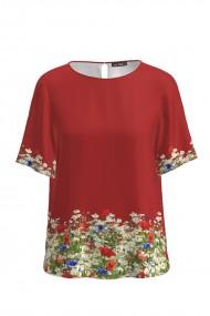 Bluza rosie de vara cu maneca scurta imprimata Flori de camp CMD765