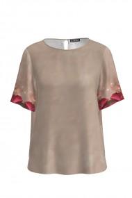 Bluza bej de vara cu maneca scurta si imprimeu floral CMD766