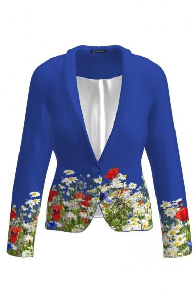 Sacou albastru cambrat imprimat Flori de camp CMD783
