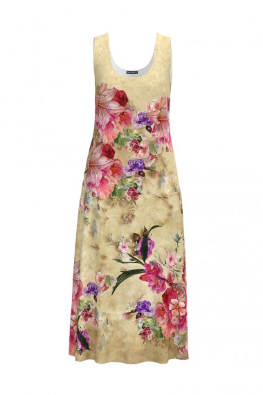 Rochie lunga casual de vara cu buzunare bej imprimata cu model Floral CMD795