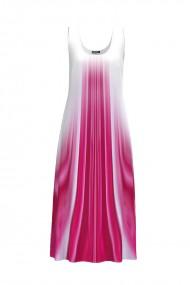 Rochie lunga casual de vara cu buzunare imprimata in nuante alb roz CMD796