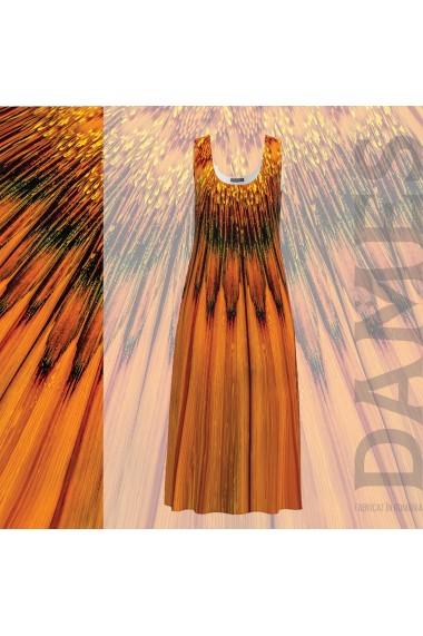 Rochie lunga casual de vara cu buzunare imprimata in nuante de ocru CMD797