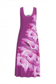 Rochie lunga casual de vara cu buzunare mov imprimata cu model floral CMD798