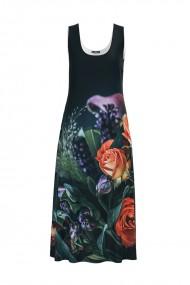 Rochie lunga casual de vara cu buzunare neagra imprimata cu Trandafiri CMD801