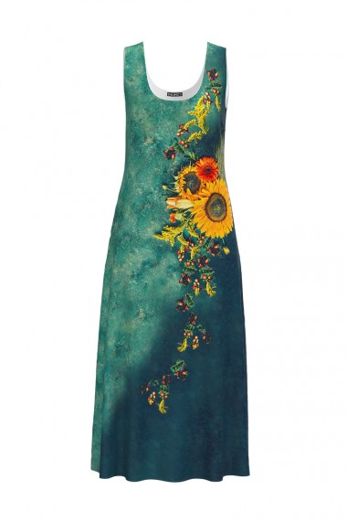 Rochie lunga casual de vara cu buzunare verde imprimata cu model Floarea soarelui CMD802