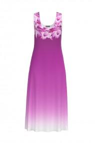 Rochie lunga casual de vara cu buzunare violet imprimata cu model floral CMD804
