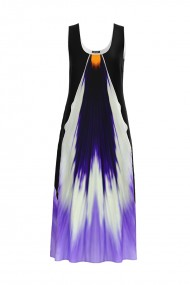 Rochie lunga casual de vara cu buzunare imprimata multicolor CMD806