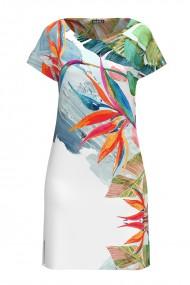Rochie casual lejera de vara alba imprimata digital cu model multicolor CMD811