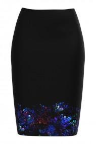 Fusta conica neagra imprimata cu model floral CMD824