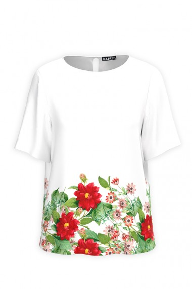Bluza alba de vara cu maneca scurta si imprimeu Floral CMD826