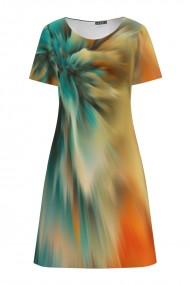 Rochie casual multicolora cu imprimeu abstract CMD830