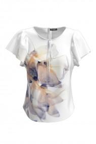 Bluza alba imprimata cu model abstract CMD847