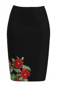 Fusta conica neagra imprimata cu model floral CMD850