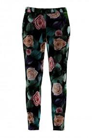 Pantaloni multicolori cu print floral din catifea cu buzunare CMD858