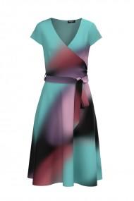 Rochie casual de vara cu maneca scurta imprimata multicolor CMD878