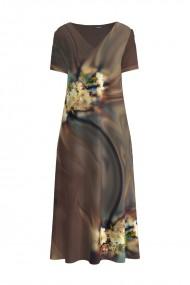 Rochie de vara maro lunga cu buzunare imprimata digital Floral CMD893