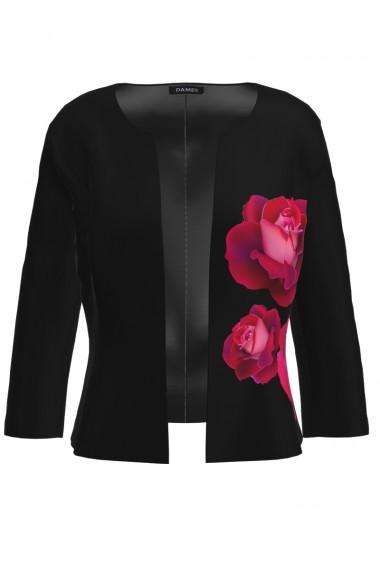 Sacou negru cambrat imprimat Trandafiri CMD895