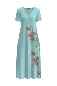 Rochie lunga casual de vara cu buzunare bleu imprimata cu model Floral CMD904