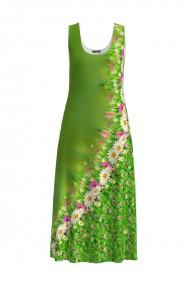 Rochie lunga verde casual de vara cu buzunare imprimata floral CMD906