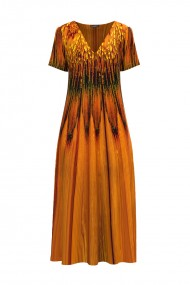 Rochie de vara lunga cu buzunare imprimata in nuante de ocru CMD912