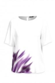 Bluza alba imprimata abstract mov CMD913