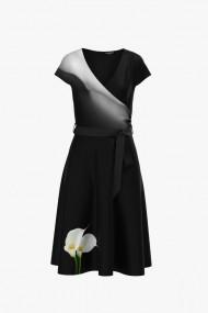 Rochie casual neagra de vara cu maneca scurta si imprimeu Cale CMD919