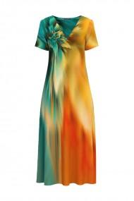 Rochie de vara lunga cu buzunare imprimata digital Multicolora CMD920