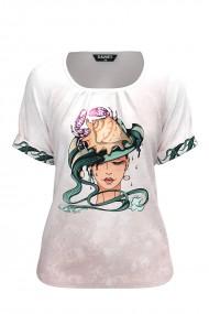 Bluza dama tip tricou cu maneca scurta si imprimeu Zodia Rac CMD935