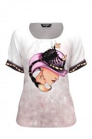 Bluza dama tip tricou cu maneca scurta si imprimeu Zodia Scorpion CMD939