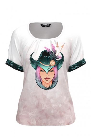Bluza dama tip tricou cu maneca scurta si imprimeu Zodia Sagetator CMD940