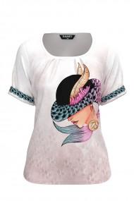 Bluza dama tip tricou cu maneca scurta si imprimeu Zodia Capricorn CMD941