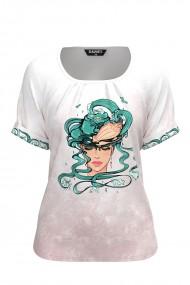 Bluza dama tip tricou cu maneca scurta si imprimeu Zodia Varsator CMD942
