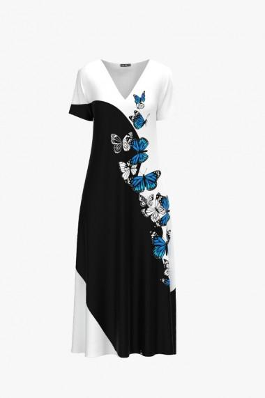 Rochie de vara alb negru lunga cu buzunare imprimata digital Fluturi CMD952