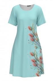Rochie casual lejera de vara bleu imprimata cu model floral CMD974