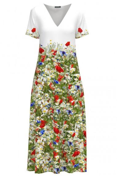 Rochie de vara lunga cu buzunare imprimata Flori de camp CMD960
