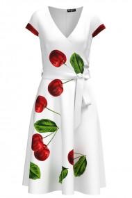 Rochie alba casual de vara cu maneca scurta si imprimeu Cirese CMD990